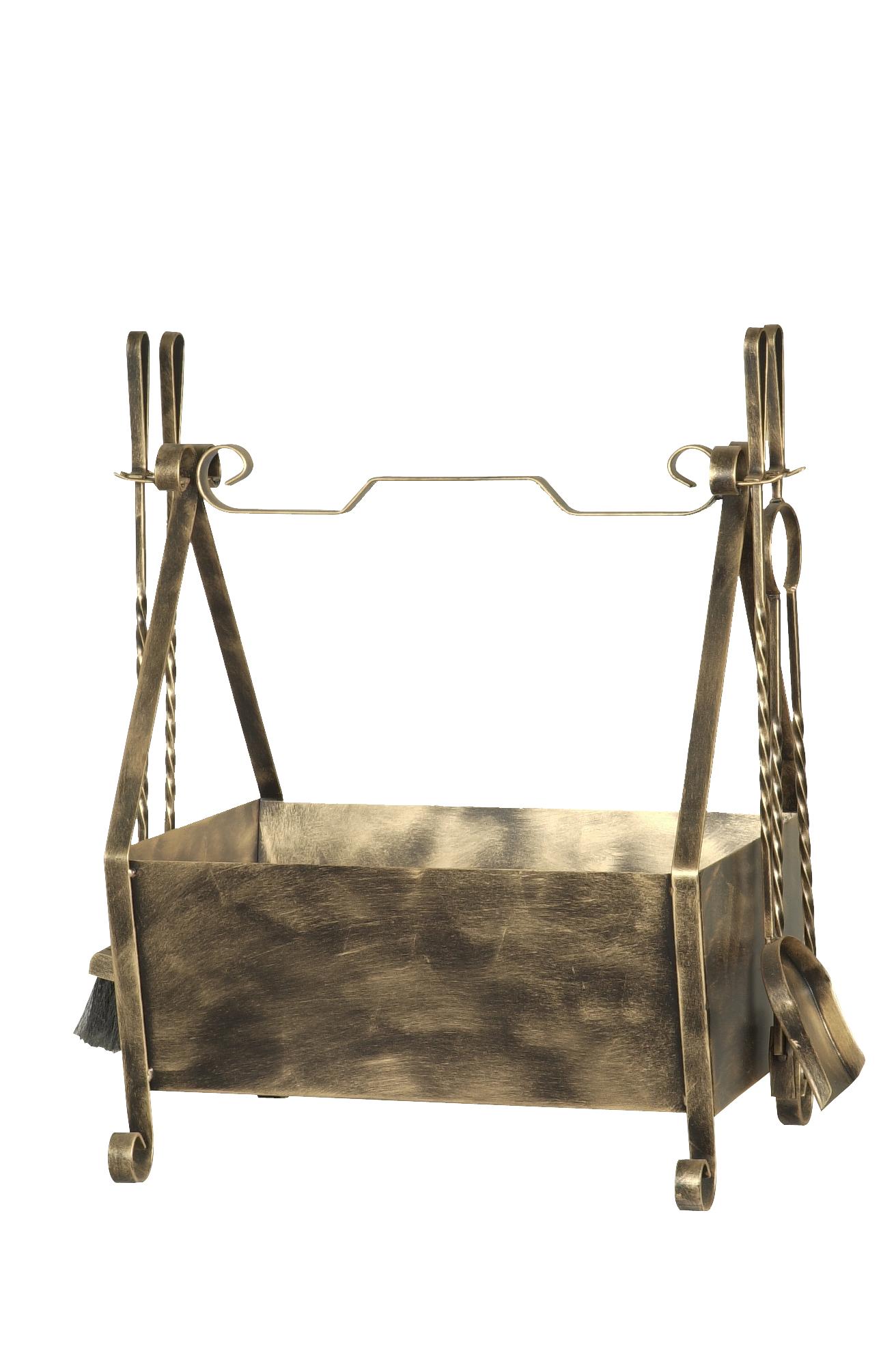 Kit de limpeza para lareira com cesto de lenha cabo ferro (Cód. 232)