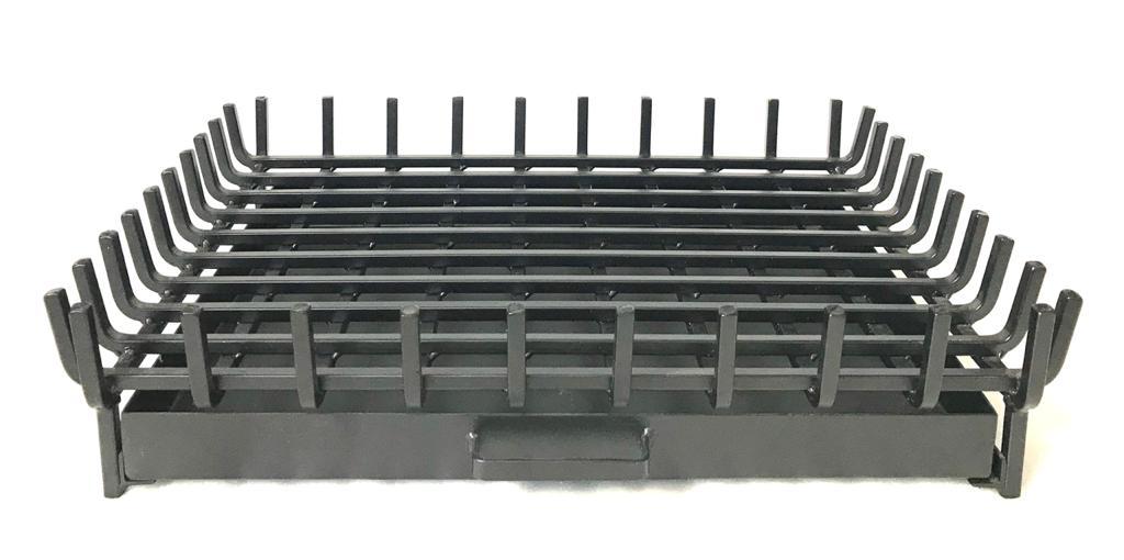 Grelha para lareira – suporte queimador quadrado – com gaveta  ferro quadrado 1/2